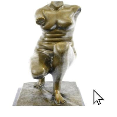 Handcrafted Vintage Bronze Metal Nude Female Torso Style Sculpture Signed