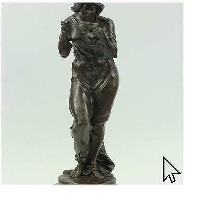 Maiden Bust By French Artisian Milo Bronze Sculpture Art Deco Nouveau Home Decor