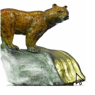 Bronze Bear Sculpture W Brown Marble Patina Limited Edition Figurine Figure Sale