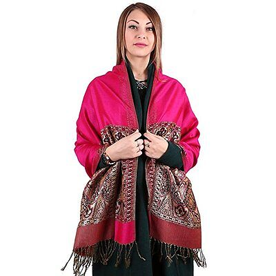 Hot Fashion Lady Double-Side Rose red Pashmina Scarf Wrap Shawl Cape
