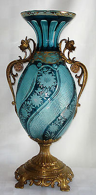 Louis Xv Style Teal Crystal Urn With Bronze Base