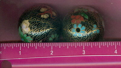 RARE & Vintage ~ Lot of Two (2) ~ 36mm Cloisonne Beads ~ Circa 1980 ~ 2 Diff.