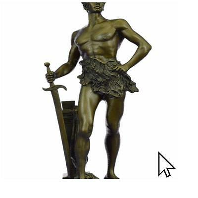 Art Deco Nude Male Warrior Bronze Sculpture Home Office Decoration Statue Figure