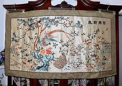 VNTG Huge Chinese Silk Embroidery 100 Bird Calligraphy Inscription Textile Panel