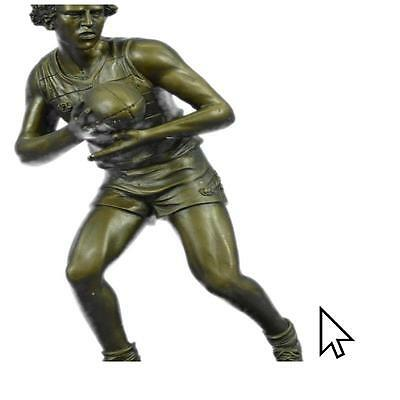 Handcrafted Art 100% Bronze Marble Sculpture Figure Rugby Football Player