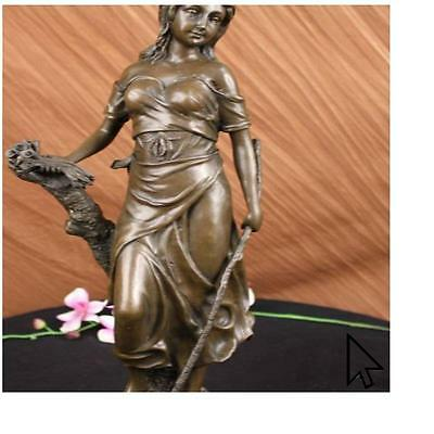 Handcrafted Signed Female With Flower Nude Bronze Sculpture Figure Art  E