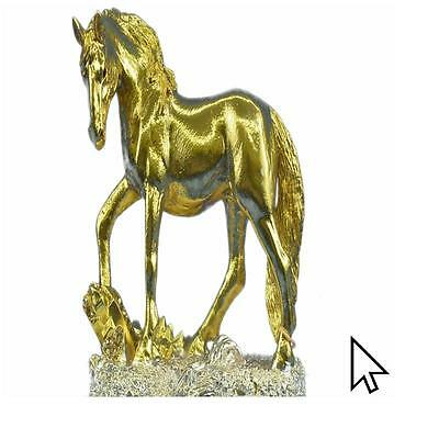 Art Deco Male Stallion 24K Gold Plated Bronze Sculpture Figurine Figure