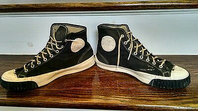 1940's LEEDALL High Top Black Sneakers. Vintage! Punk, SoHo sick!