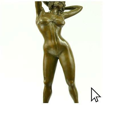 Handcrafted Signed High Quality Art Bronze Nude Girl Marble Plinth Hotcast
