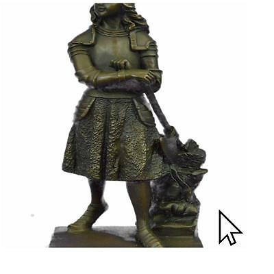 Signed Fremiet French Artisan Tribute Joan Arc Bronze Sculpture Statue Art
