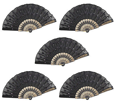 Set of 5 Black Chinese Lace Floral Hand Folding Fans Party Gift US Seller