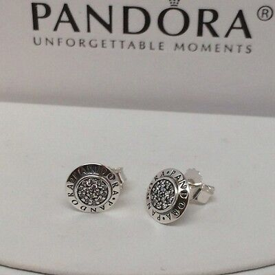 Genuine Pandora Sterling Silver Signature Stud Earrings 290559CZ Authentic