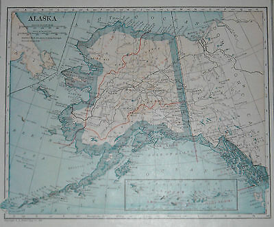 L@@K Antique 1922 World Atlas Map of Alaska & Alabama With Lists Cities & Towns