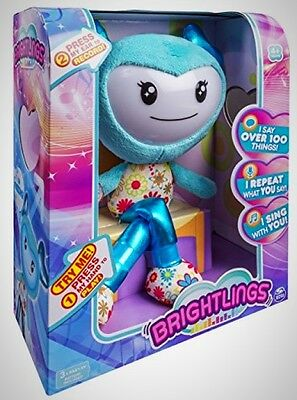 "Brightlings Interactive Singing Talking 15"" Plush by Spin Master Teal Toy New"