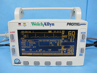 Welch Allyn Propaq Encore Patient Monitor 206EL Masimo SpO2 NIBP ECG Warranty