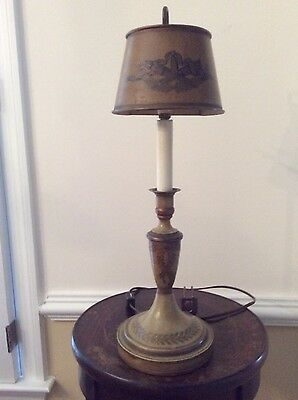 Antique French Tole Bouillotte Table Lamp