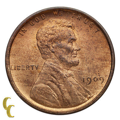 1909 VDB Lincoln Wheat Cent 1C Penny (Choice BU Condition) 90% Red!