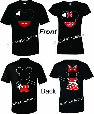 b9e156d698 Mickey and Minnie Disney Holding hands Couple matching funny cute TShirt  S-4XL