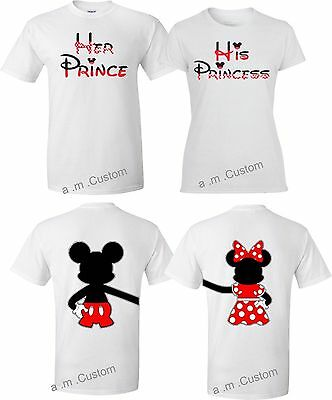 Mickey and Minnie Disney Prince and Princess couple matching cute T-Shirts