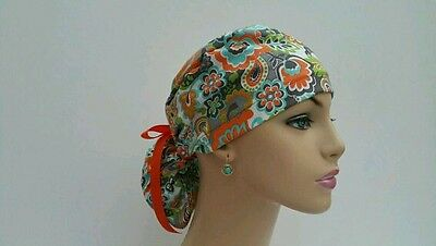 Ponytail Scrub Hat-Orang-Gray Flowers-Handmade, Medical, Multi-Color, One Size,