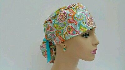 Ponytail Scrub Hat-Multi-Color Paisley-Handmade, Medical, Multi-Color, One Size,