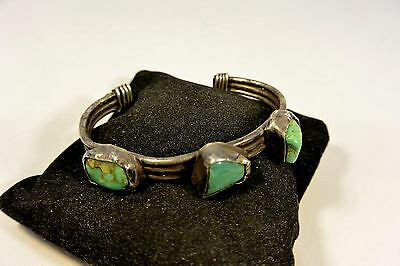 Primitive old Navajo BRACELET Coin Silver w/3 TURQUOISE & Hand Drawn Ingot Wire