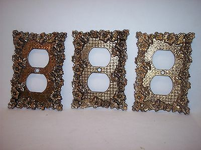 ONE Vintage Heavy Brass Floral Gingham Pattern Single Outlet Plate Cover Lot KK