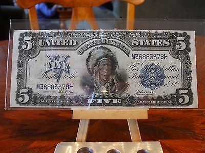 1899 $5 Indian Chief Silver Certificate,vf condition,no tears, great eye appeal