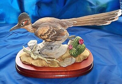 Napcoware 1978 Ltd Edition Birds Of North America Roadrunner Figurine/wood Base!