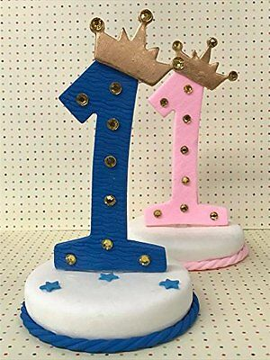 First Birthday Number One Pink Blue Prince Princess Cake Topper Centerpiece