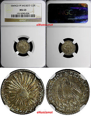Mexico Republic Silver 1849 Go-PF 1/2 Real NGC MS63 Nice Toning  KM# 370.7