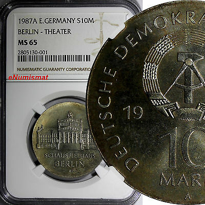 German-Democratic Republic DDR 1987 A 10 Mark NGC MS65 Berlin - Theater KM# 118