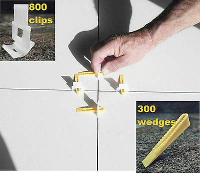 Tile Leveling System Kit 800 Clips 300 Wedges levelling spacer Floors Wall