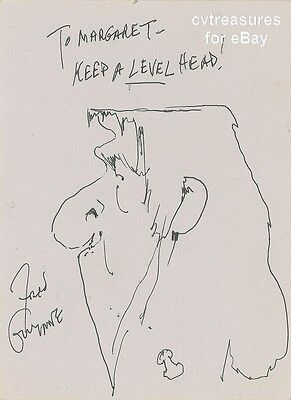 Fred Gwynne Original Signed Autographed Ink Sketch Drawing of Herman Munster PSA