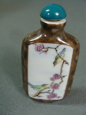 Antique Hand Painted Glass Snuff Bottle with Spoon