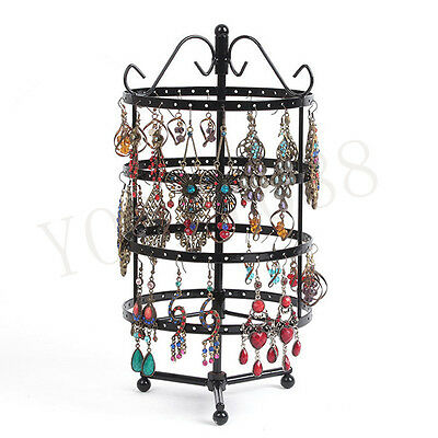 144 Holes Round Rotating Rack Earrings Jewelry Holder Organizer Display Stand