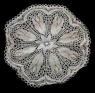 Vintage round ecru knitted large lace doily measuring 40cm across