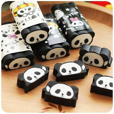 Hot Cartoon Animal Panda Eraser Cuttable Pencil Erasers School Office Stationery