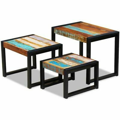 Three Piece Nesting Tables Coffee Side Telephone Stand Desk Solid Reclaimed Wood