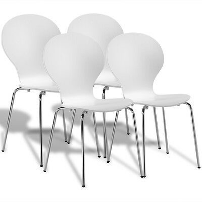 4 Stackable Bentwood Butterfly Dining Office Chairs White Steel Legs Lightweight