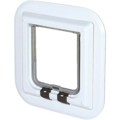 TRIXIE 4 Way Cat Kitten Pet Flap for Glass Doors Locking 27x27 cm White 38631
