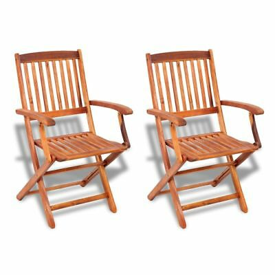 2 pcs Outdoor Garden Folding Dining Chairs Seat Acacia Wood Patio Terrace Yard