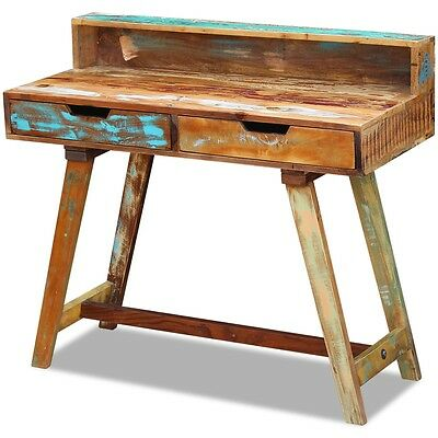 Solid Reclaimed Recycled Wood Rustic Desk Table Handmade 2 Drawers 100x45x90 cm