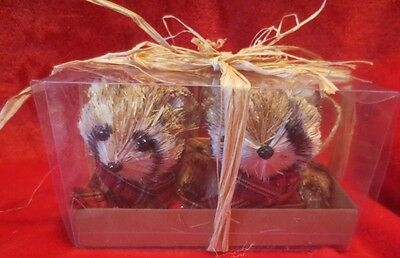 Set of 2 Rattan Raccoons Red Plaid Scarves NEW