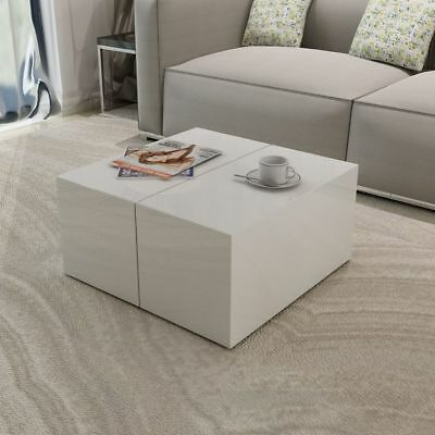New Coffee Table High Gloss White Concealed Storage Compartment MDF High-quality