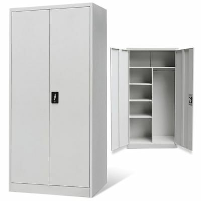 Metal Locker-style Cabinet Wardrobe Filing Document Storage Organizer 2 Doors
