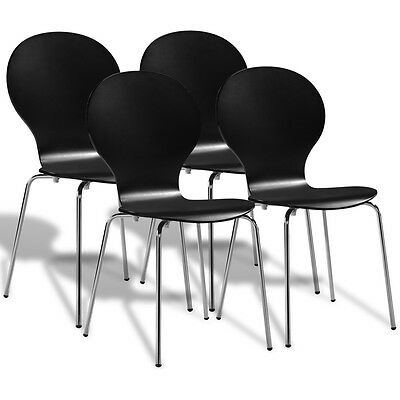 4 Stackable Bentwood Butterfly Dining Office Chairs Black Steel Legs Lightweight