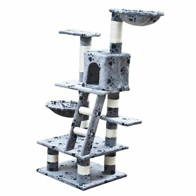 New Cat Tree Scratcher Post Cat Toy Bed Furniture Plush 122 cm Grey Pawprints