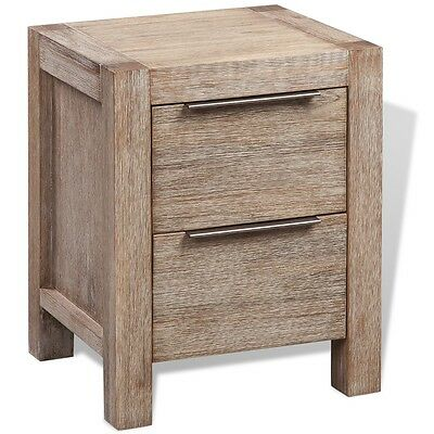 Bedside Cabinet Side Table Telephone Stand 2 Drawers Solid Brushed Acacia Wood