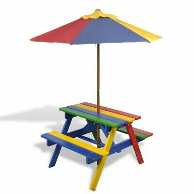 NEW Kids Children Picnic Table & Benches with Parasol Multi-colours Fir Wood